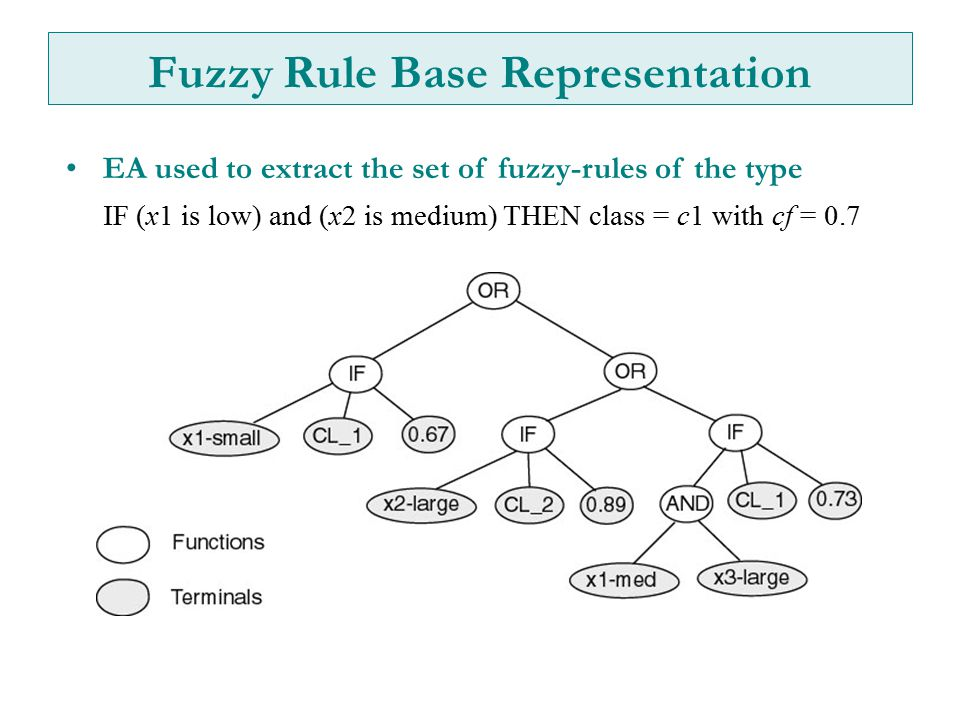 Fuzzy Rule Base Representation EA used to extract the set of fuzzy-rules of the type IF (x1 is low) and (x2 is medium) THEN class = c1 with cf = 0.7