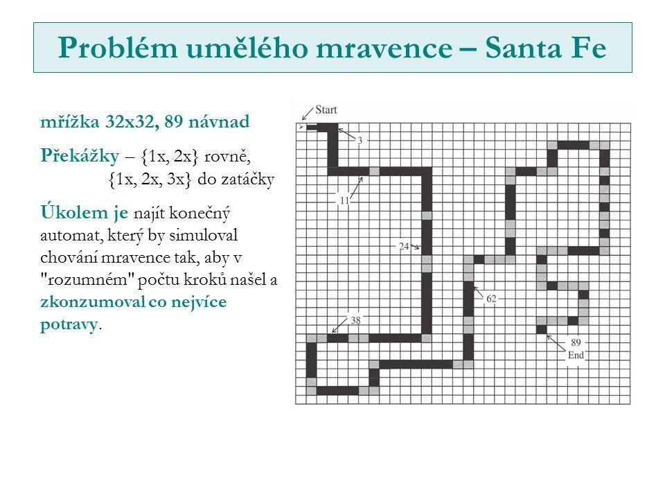 Problém umělého mravence – Santa Fe mřížka 32x32, 89 návnad Překážky – {1x, 2x} rovně, {1x, 2x, 3x} do zatáčky Úkolem je najít konečný automat, který by simuloval chování mravence tak, aby v rozumném počtu kroků našel a zkonzumoval co nejvíce potravy.