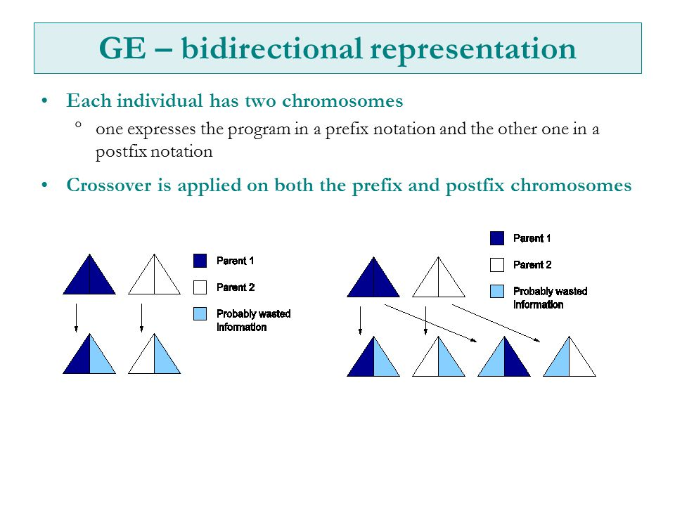 GE – bidirectional representation Each individual has two chromosomes  one expresses the program in a prefix notation and the other one in a postfix