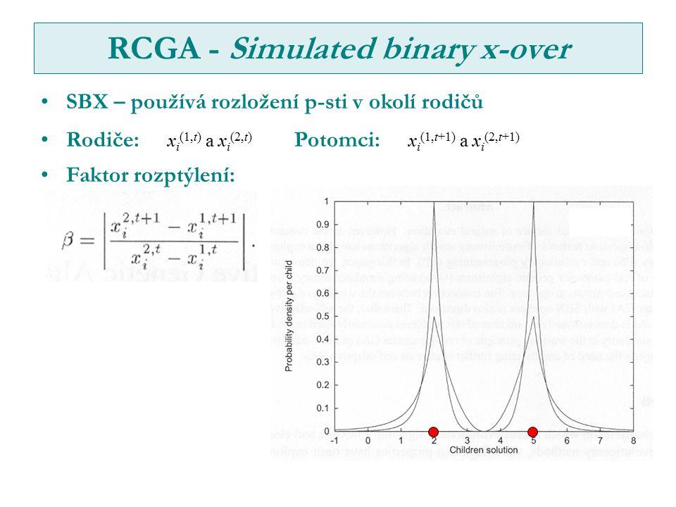 RCGA - Simulated binary x-over SBX – používá rozložení p-sti v okolí rodičů Rodiče: x i (1,t) a x i (2,t) Potomci: x i (1,t+1) a x i (2,t+1) Faktor rozptýlení: