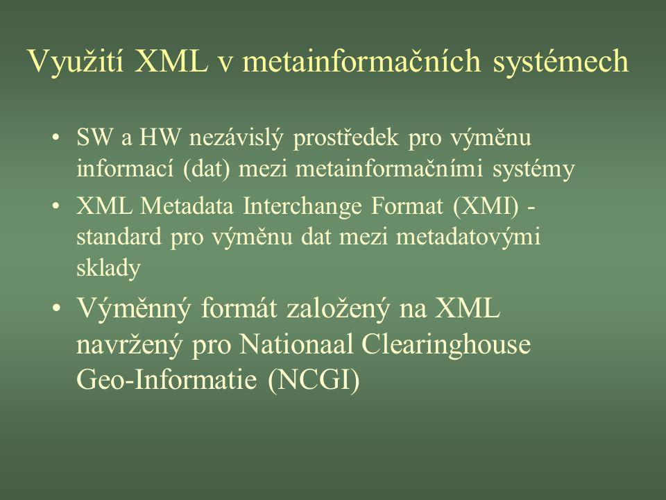 Využití XML v metainformačních systémech SW a HW nezávislý prostředek pro výměnu informací (dat) mezi metainformačními systémy XML Metadata Interchang
