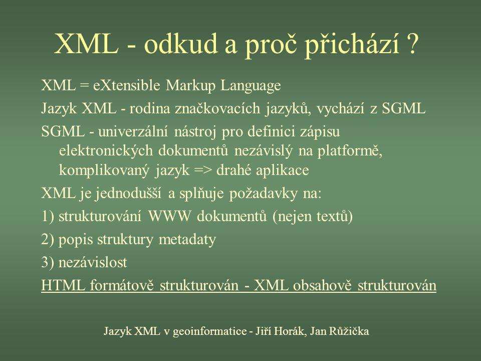 XML - odkud a proč přichází ? Jazyk XML v geoinformatice - Jiří Horák, Jan Růžička XML = eXtensible Markup Language Jazyk XML - rodina značkovacích ja