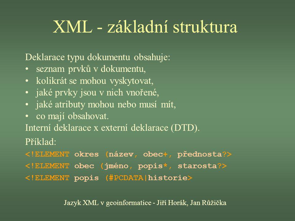 XML - základní struktura Jazyk XML v geoinformatice - Jiří Horák, Jan Růžička Deklarace typu dokumentu obsahuje: seznam prvků v dokumentu, kolikrát se