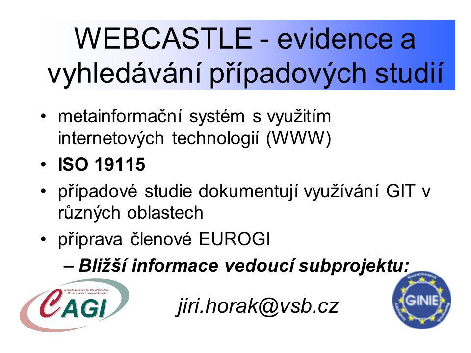 WEBCASTLE - evidence a vyhledávání případových studií metainformační systém s využitím internetových technologií (WWW) ISO 19115 případové studie doku