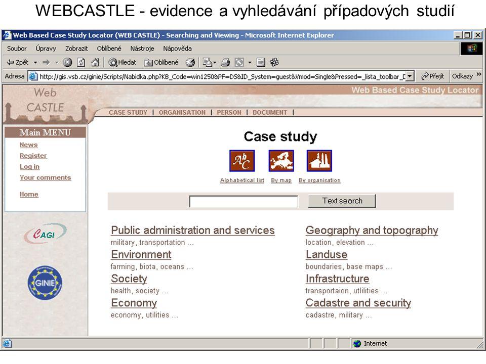 WEBCASTLE - evidence a vyhledávání případových studií