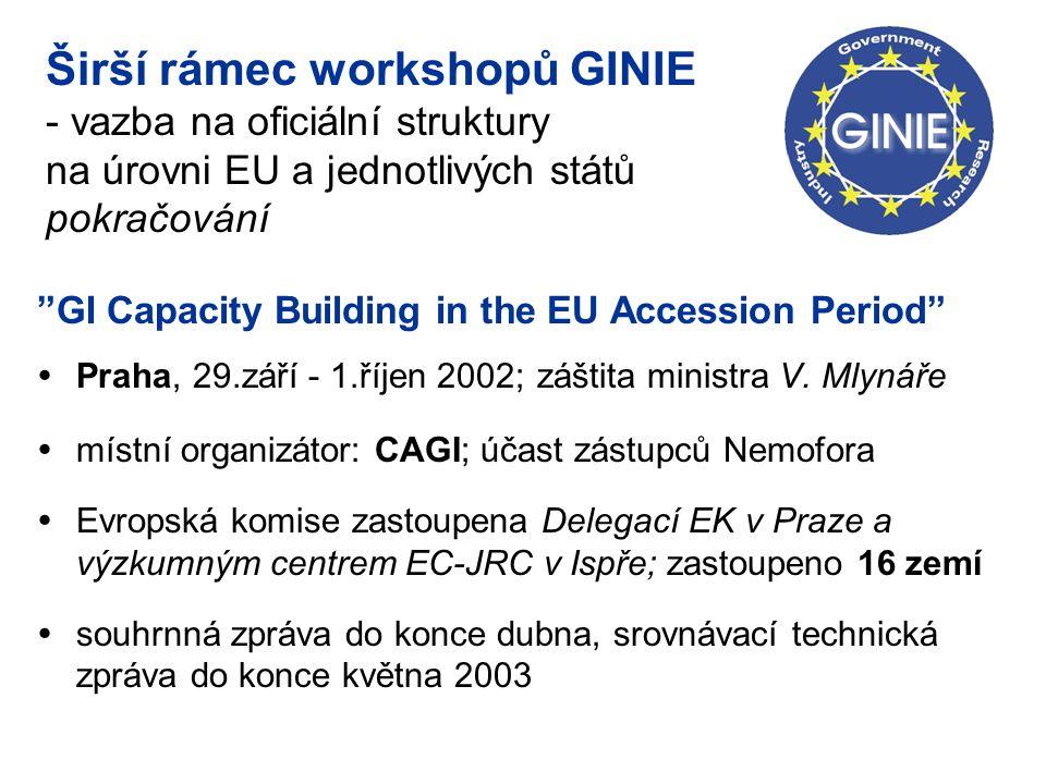 """Širší rámec workshopů GINIE - vazba na oficiální struktury na úrovni EU a jednotlivých států pokračování """"GI Capacity Building in the EU Accession Per"""