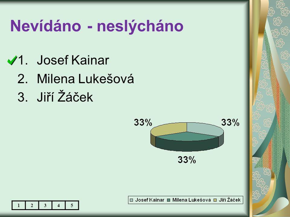 Nevídáno - neslýcháno 1.Josef Kainar 2.Milena Lukešová 3.Jiří Žáček 12345