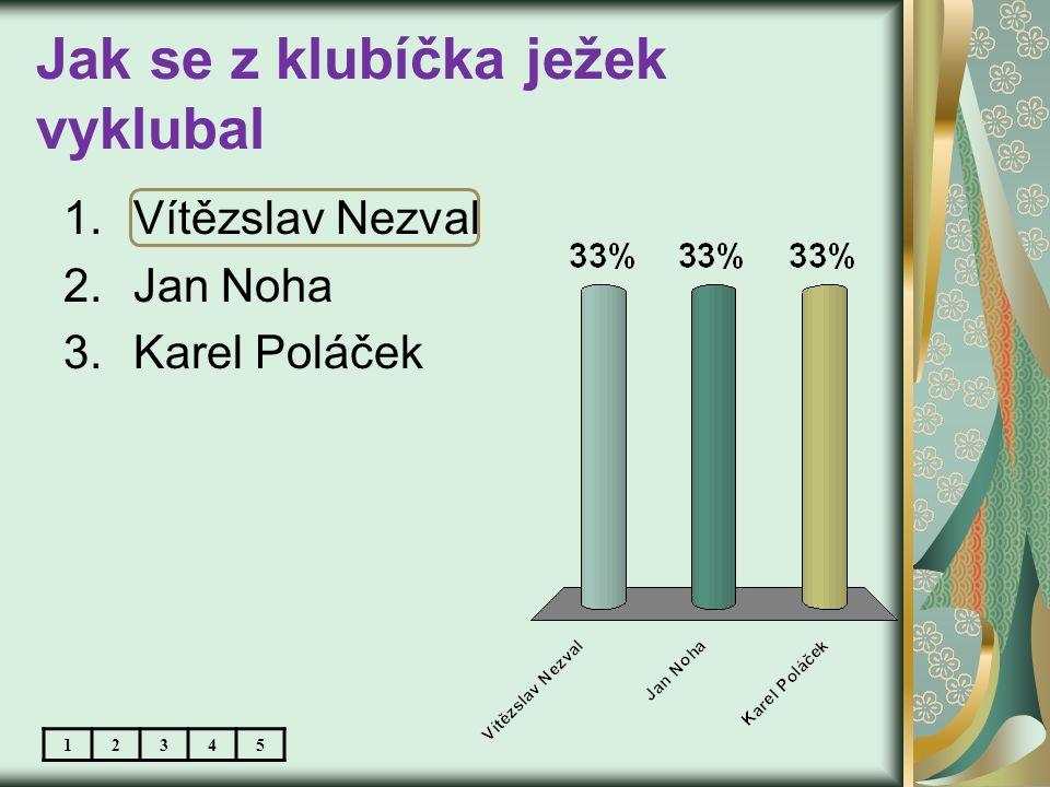 Jak se z klubíčka ježek vyklubal 1.Vítězslav Nezval 2.Jan Noha 3.Karel Poláček 12345