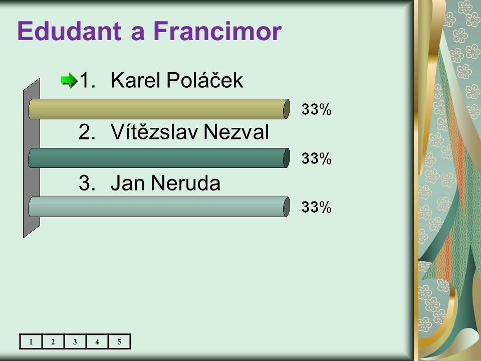 Edudant a Francimor 1.Karel Poláček 2.Vítězslav Nezval 3.Jan Neruda 12345