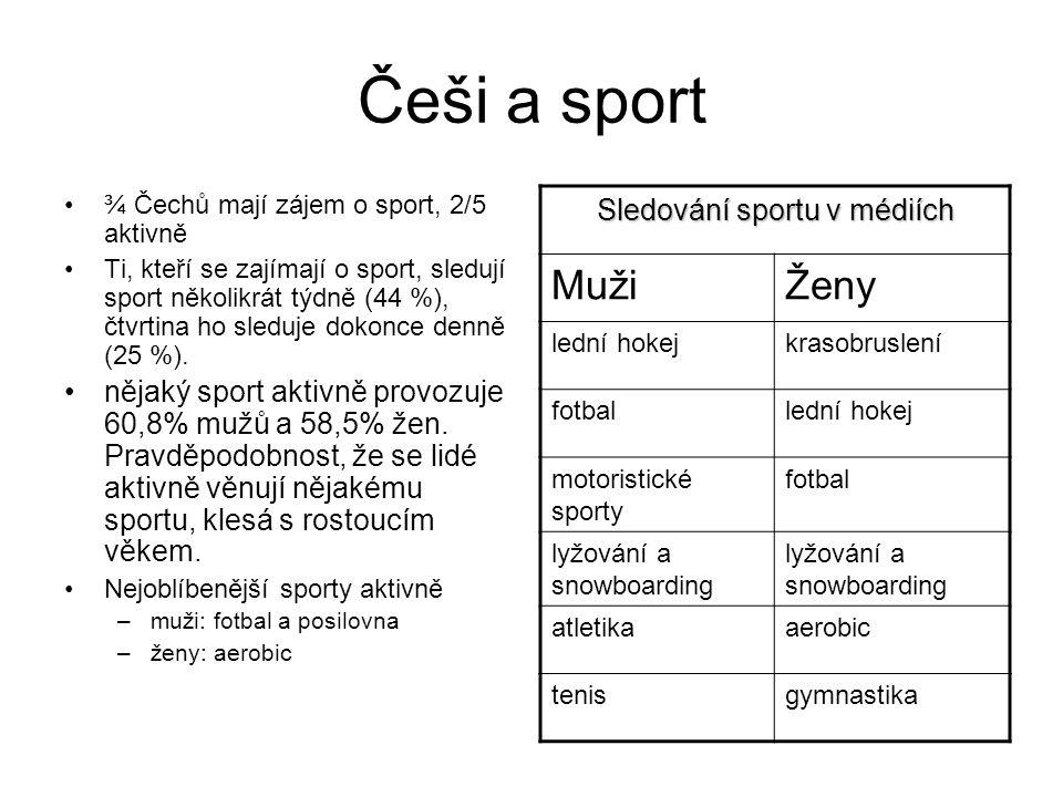 Češi a sport ¾ Čechů mají zájem o sport, 2/5 aktivně Ti, kteří se zajímají o sport, sledují sport několikrát týdně (44 %), čtvrtina ho sleduje dokonce