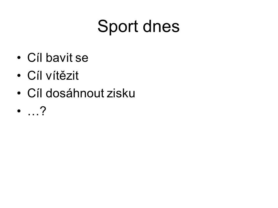 Sport dnes Cíl bavit se Cíl vítězit Cíl dosáhnout zisku …?
