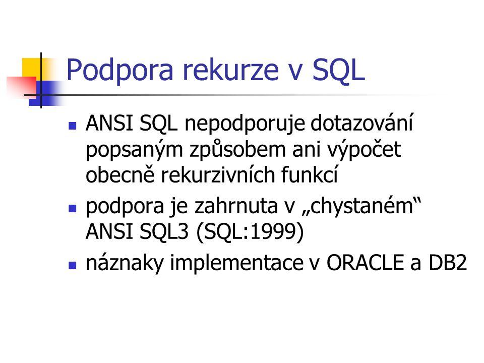 """Podpora rekurze v SQL ANSI SQL nepodporuje dotazování popsaným způsobem ani výpočet obecně rekurzivních funkcí podpora je zahrnuta v """"chystaném"""" ANSI"""