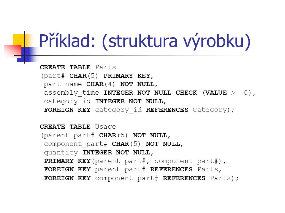 Příklad: (struktura výrobku) CREATE TABLE Parts (part# CHAR(5) PRIMARY KEY, part_name CHAR(4) NOT NULL, assembly_time INTEGER NOT NULL CHECK (VALUE >=