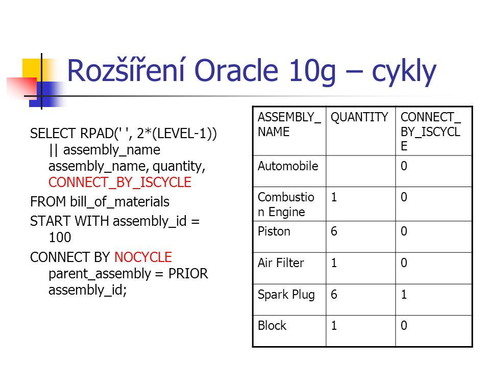 Rozšíření Oracle 10g – cykly SELECT RPAD(' ', 2*(LEVEL-1)) || assembly_name assembly_name, quantity, CONNECT_BY_ISCYCLE FROM bill_of_materials START W
