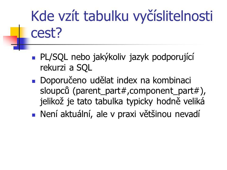 Kde vzít tabulku vyčíslitelnosti cest? PL/SQL nebo jakýkoliv jazyk podporující rekurzi a SQL Doporučeno udělat index na kombinaci sloupců (parent_part