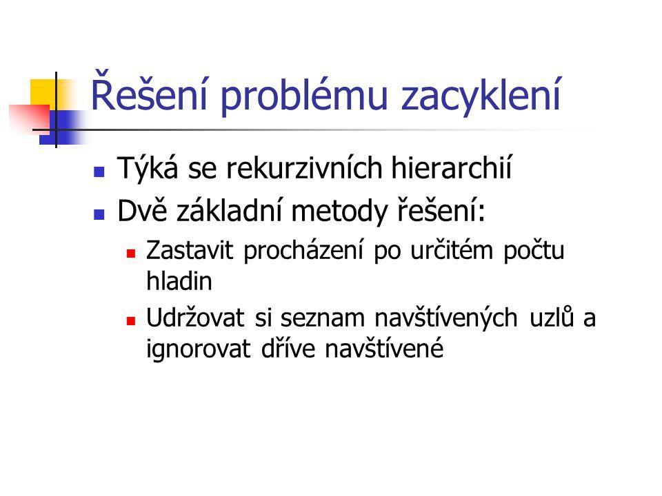 Řešení problému zacyklení Týká se rekurzivních hierarchií Dvě základní metody řešení: Zastavit procházení po určitém počtu hladin Udržovat si seznam n