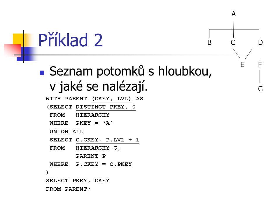 Příklad 2 Seznam potomků s hloubkou, v jaké se nalézají. WITH PARENT (CKEY, LVL) AS (SELECT DISTINCT PKEY, 0 FROM HIERARCHY WHERE PKEY = 'A' UNION ALL