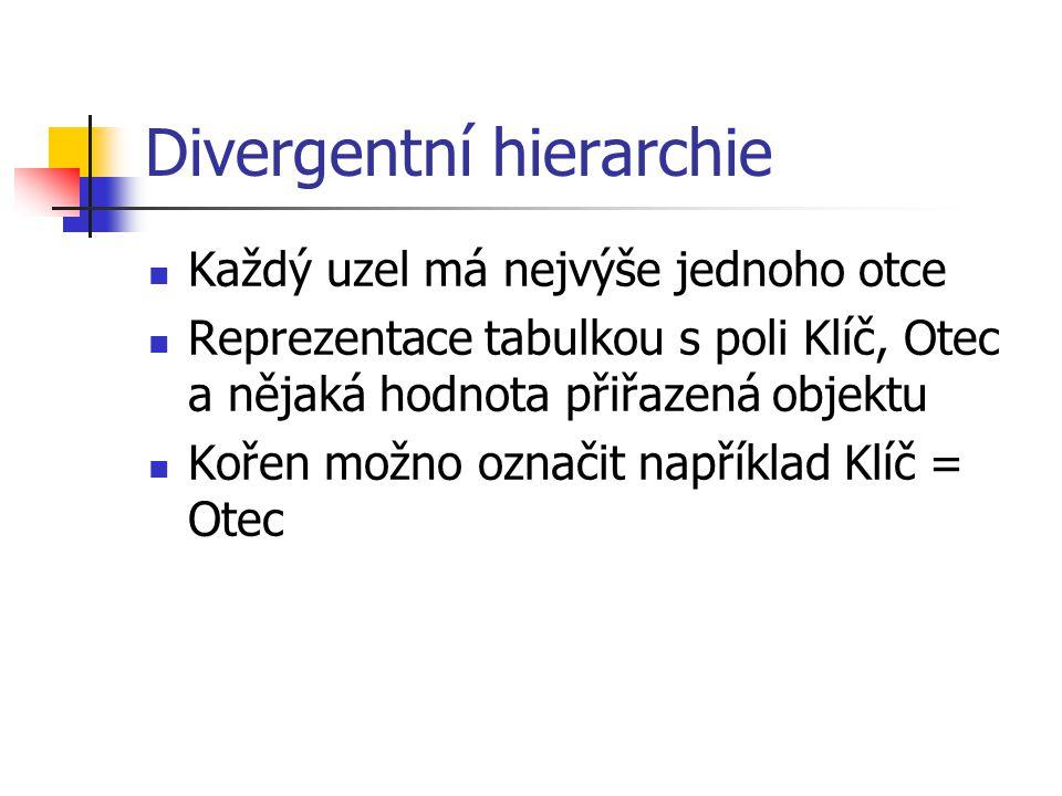 Divergentní hierarchie Každý uzel má nejvýše jednoho otce Reprezentace tabulkou s poli Klíč, Otec a nějaká hodnota přiřazená objektu Kořen možno označ