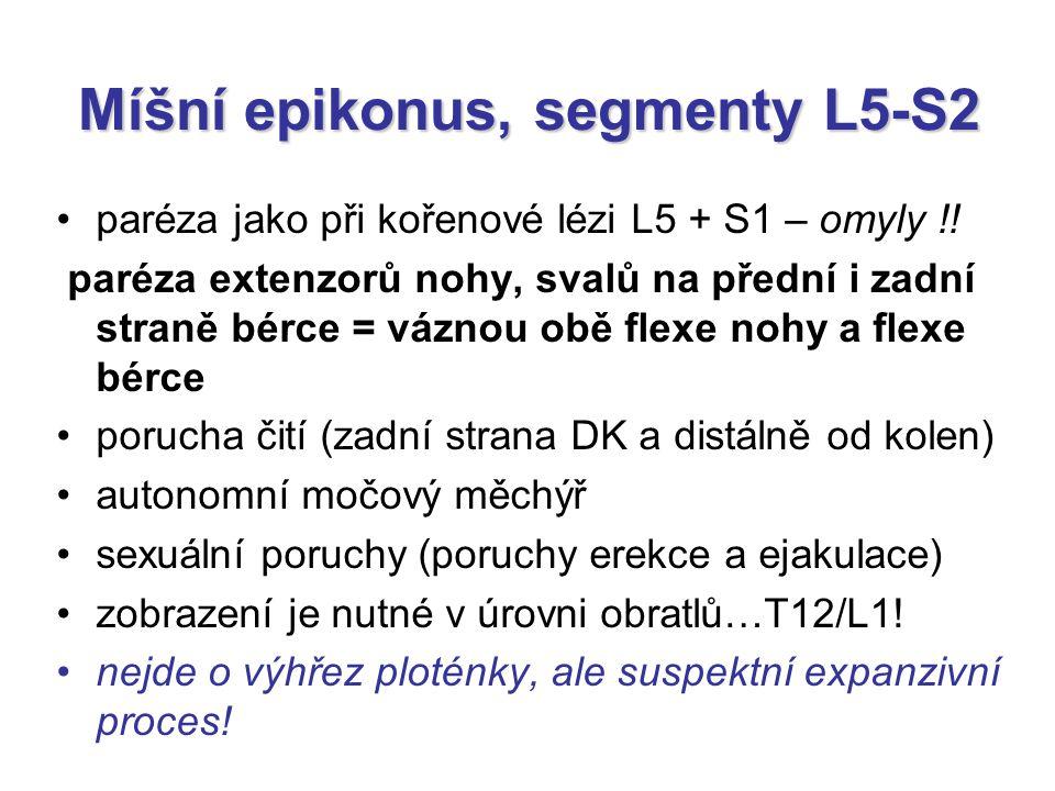 Míšní epikonus, segmenty L5-S2 paréza jako při kořenové lézi L5 + S1 – omyly !! paréza extenzorů nohy, svalů na přední i zadní straně bérce = váznou o