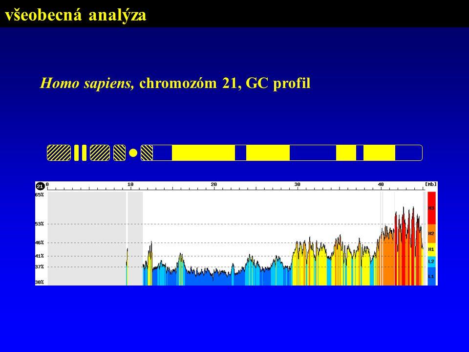 Homo sapiens, chromozóm 21, GC profil všeobecná analýza