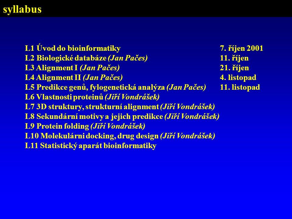 syllabus L1 Úvod do bioinformatiky7. říjen 2001 L2 Biologické databáze (Jan Pačes)11. říjen L3 Alignment I (Jan Pačes)21. říjen L4 Alignment II (Jan P