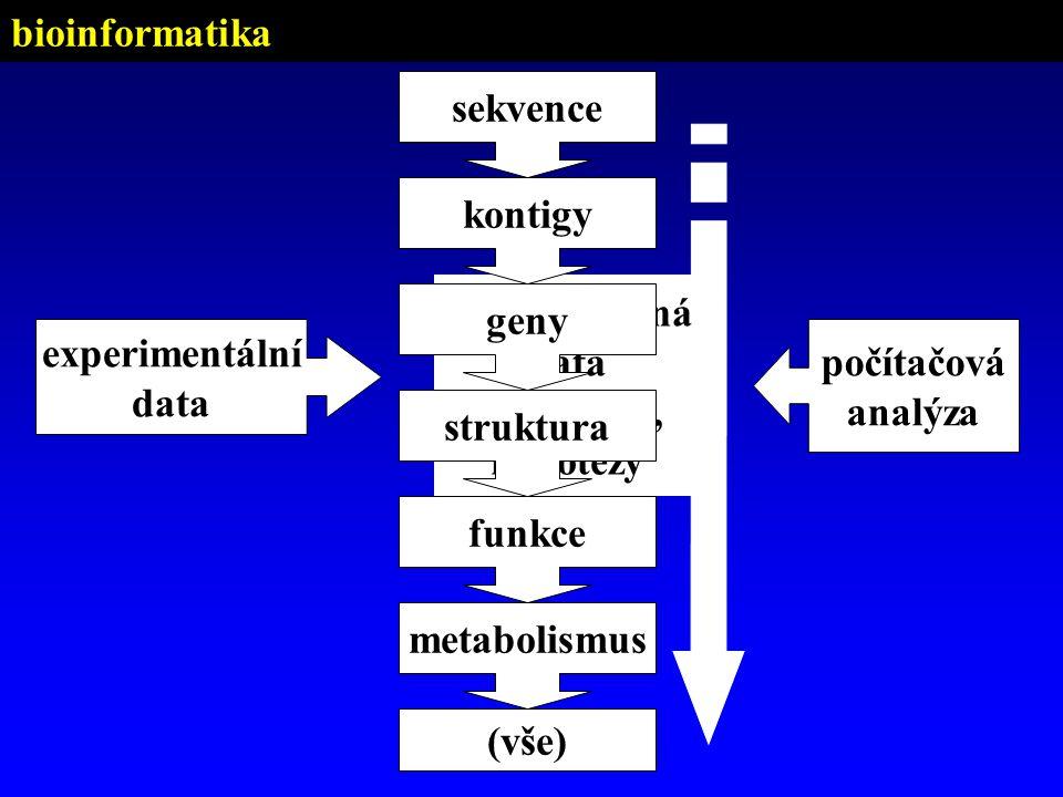 experimentální data počítačová analýza strukturovaná data (databáze), hypotézy sekvence geny kontigy funkce metabolismus (vše) struktura bioinformatik