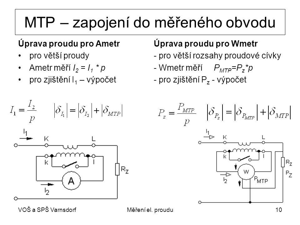 VOŠ a SPŠ VarnsdorfMěření el. proudu10 MTP – zapojení do měřeného obvodu Úprava proudu pro AmetrÚprava proudu pro Wmetr pro větší proudy- pro větší ro