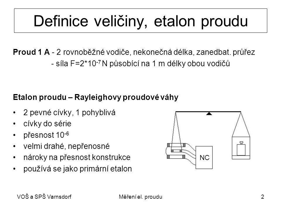 VOŠ a SPŠ VarnsdorfMěření el. proudu2 Definice veličiny, etalon proudu Proud 1 A - 2 rovnoběžné vodiče, nekonečná délka, zanedbat. průřez - síla F=2*1