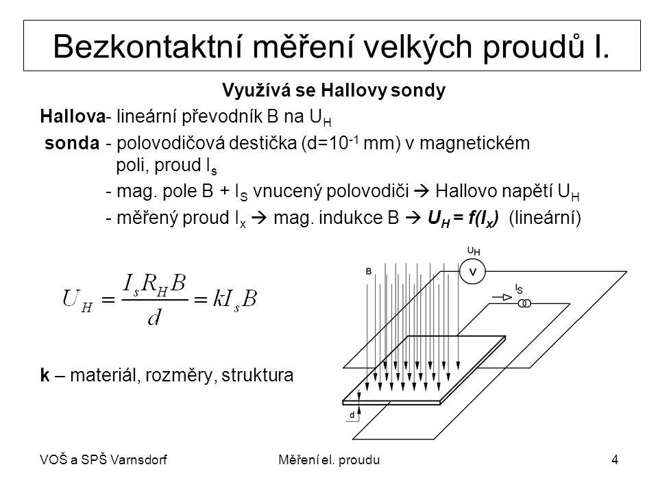 VOŠ a SPŠ VarnsdorfMěření el. proudu4 Bezkontaktní měření velkých proudů I. Využívá se Hallovy sondy Hallova- lineární převodník B na U H sonda - polo