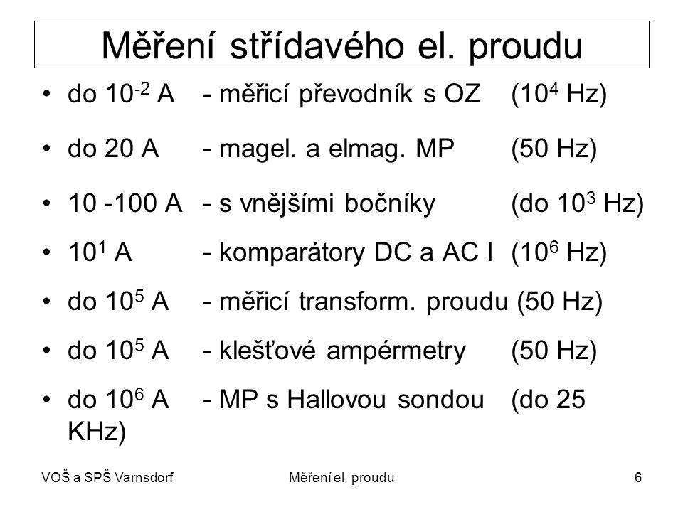 VOŠ a SPŠ VarnsdorfMěření el. proudu6 Měření střídavého el. proudu do 10 -2 A- měřicí převodník s OZ(10 4 Hz) do 20 A - magel. a elmag. MP (50 Hz) 10