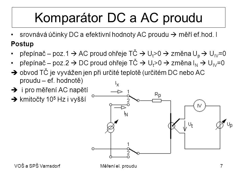 VOŠ a SPŠ VarnsdorfMěření el. proudu7 Komparátor DC a AC proudu srovnává účinky DC a efektivní hodnoty AC proudu  měří ef.hod. I Postup přepínač – po