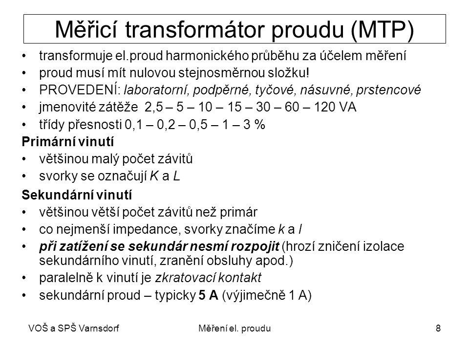 VOŠ a SPŠ VarnsdorfMěření el. proudu8 Měřicí transformátor proudu (MTP) transformuje el.proud harmonického průběhu za účelem měření proud musí mít nul