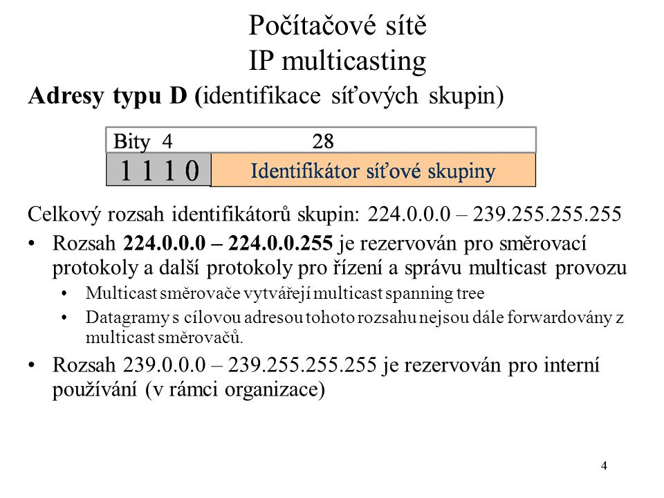 55 Rezervované adresy třídy D (příklady) –224.0.0.0 Base Address (Reserved) –224.0.0.1 All Systems on this Subnet –224.0.0.2 All Routers on this Subnet –224.0.0.5 OSPFIGP OSPFIGP All Routers –224.0.0.6 OSPFIGP OSPFIGP Designated Routers –224.0.0.9 RIP2 Routers Další příklady permanentních multicast adres –224.0.1.128 CNN –224.2.0.0 - 224.2.127.253 Multimedia Conference Calls Seznam rezervovaných multicast adres