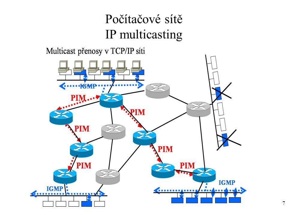 8 Protokol IGMPv1/IGMPv2/IGMPv3 (Internet Group Management Protocol) Dynamicky registruje členy, patřící do skupiny identifikovaných adresou třídy D.