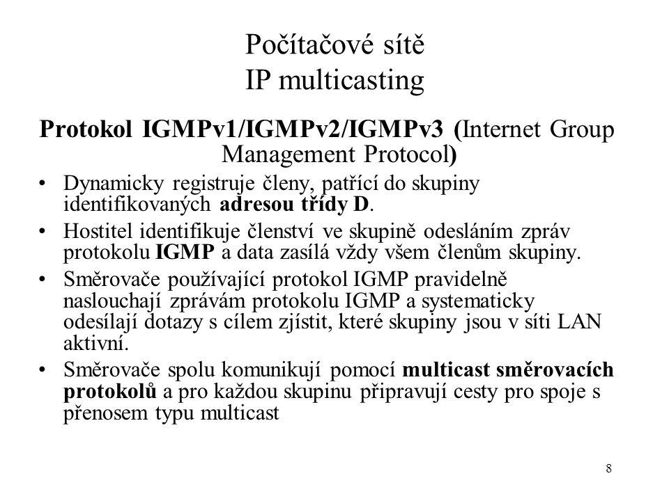 99 Počítačové sítě IP multicasting Formát IGMP v1 zprávy