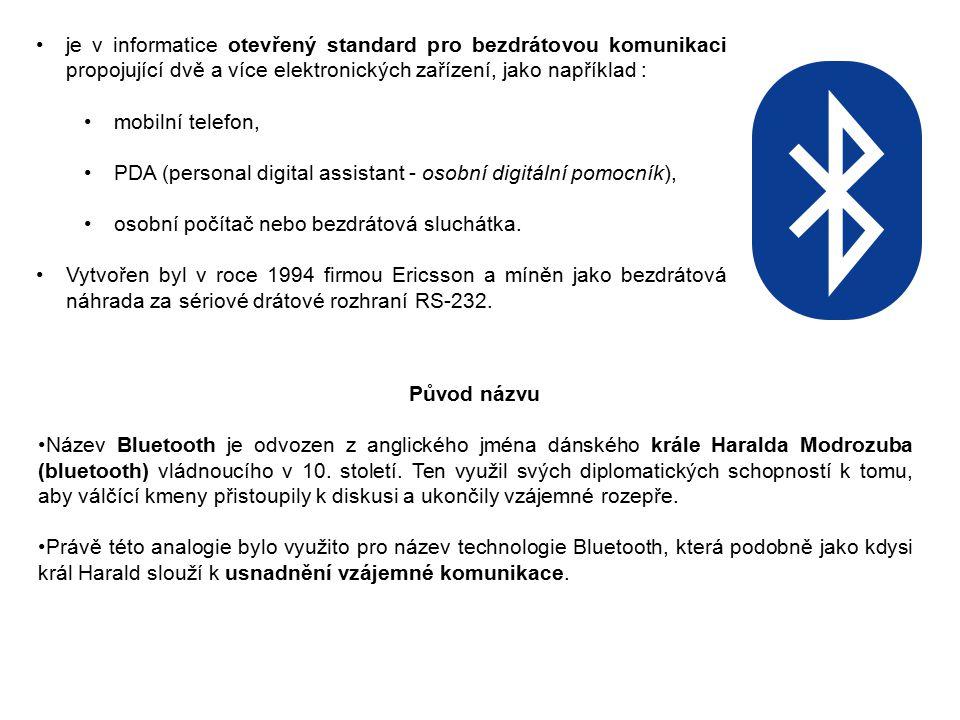 Technologie Bluetooth je definovaná standardem IEEE 802.15.1.