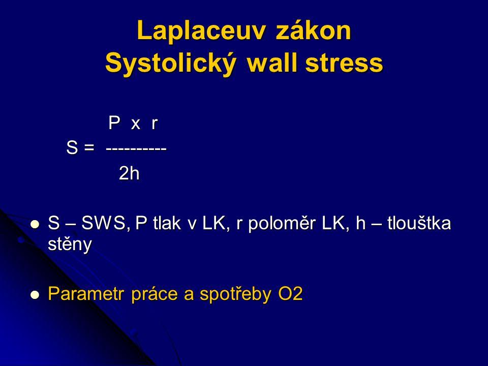 Laplaceuv zákon Systolický wall stress P x r P x r S = ---------- S = ---------- 2h 2h S – SWS, P tlak v LK, r poloměr LK, h – tlouštka stěny S – SWS, P tlak v LK, r poloměr LK, h – tlouštka stěny Parametr práce a spotřeby O2 Parametr práce a spotřeby O2
