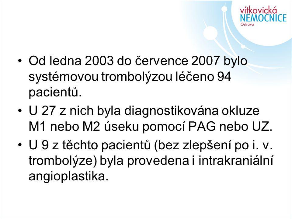 Od ledna 2003 do července 2007 bylo systémovou trombolýzou léčeno 94 pacientů.