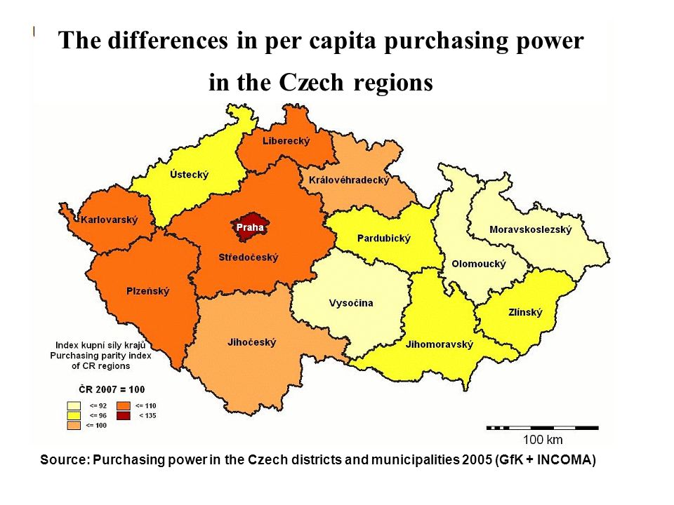 The differences in per capita purchasing power in the Czech regions Source: Purchasing power in the Czech districts and municipalities 2005 (GfK + INC