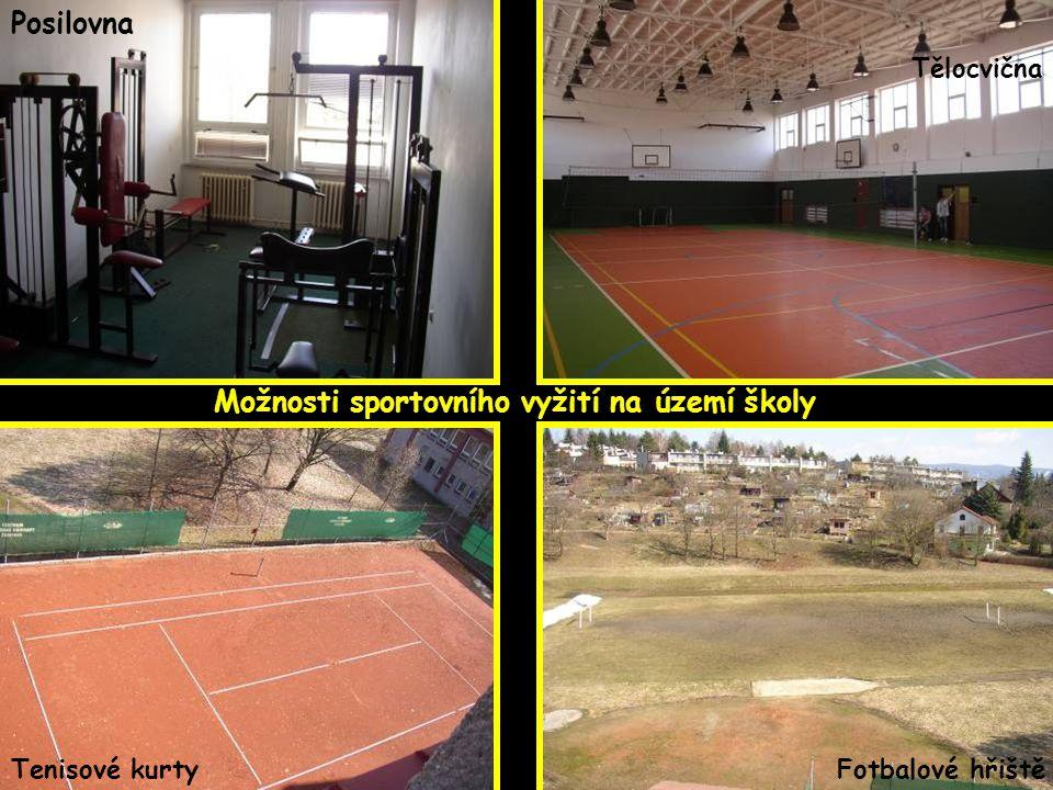 Posilovna Tělocvična Tenisové kurtyFotbalové hřiště Možnosti sportovního vyžití na území školy