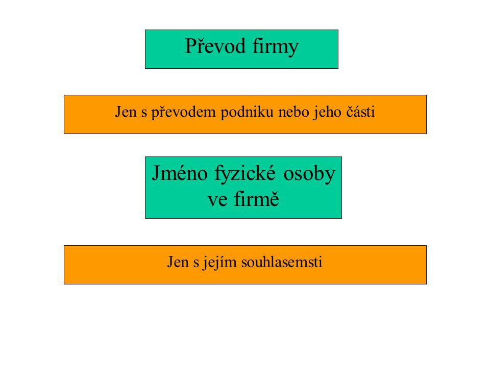 Jen s převodem podniku nebo jeho části Převod firmy Jméno fyzické osoby ve firmě Jen s jejím souhlasemsti