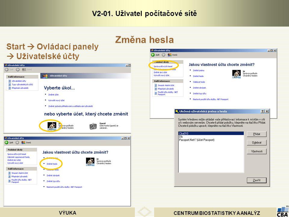 CENTRUM BIOSTATISTIKY A ANALÝZ VÝUKA V2-01. V2-01. Uživatel počítačové sítě Start  Ovládací panely  Uživatelské účty Změna hesla
