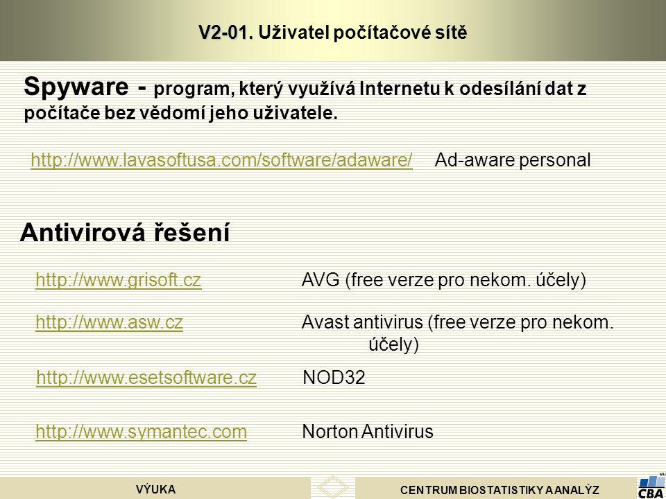 CENTRUM BIOSTATISTIKY A ANALÝZ VÝUKA V2-01. V2-01. Uživatel počítačové sítě Spyware - program, který využívá Internetu k odesílání dat z počítače bez