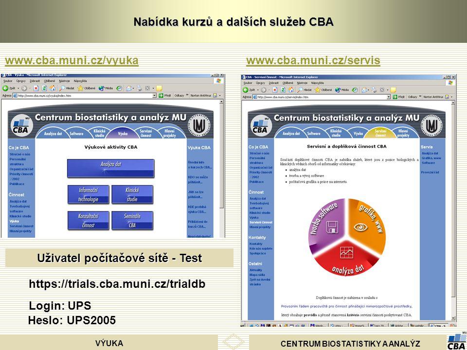 CENTRUM BIOSTATISTIKY A ANALÝZ VÝUKA Nabídka kurzů a dalších služeb CBA www.cba.muni.cz/vyukawww.cba.muni.cz/servis Uživatel počítačové sítě - Test ht