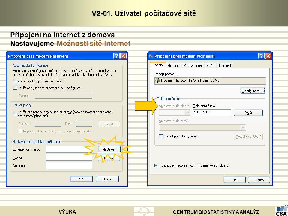 CENTRUM BIOSTATISTIKY A ANALÝZ VÝUKA V2-01. V2-01. Uživatel počítačové sítě