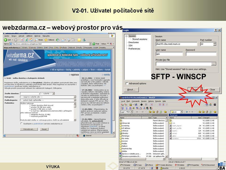 CENTRUM BIOSTATISTIKY A ANALÝZ VÝUKA V2-01. V2-01. Uživatel počítačové sítě webzdarma.cz – webový prostor pro vás SFTP - WINSCP