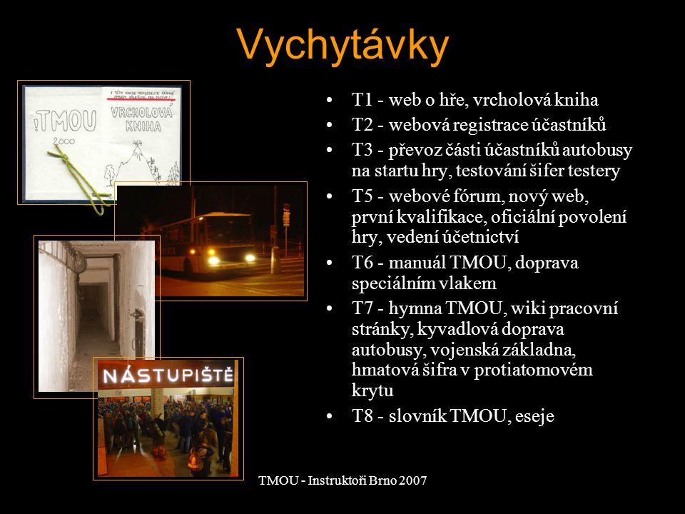 TMOU - Instruktoři Brno 2007 Vychytávky T1 - web o hře, vrcholová kniha T2 - webová registrace účastníků T3 - převoz části účastníků autobusy na startu hry, testování šifer testery T5 - webové fórum, nový web, první kvalifikace, oficiální povolení hry, vedení účetnictví T6 - manuál TMOU, doprava speciálním vlakem T7 - hymna TMOU, wiki pracovní stránky, kyvadlová doprava autobusy, vojenská základna, hmatová šifra v protiatomovém krytu T8 - slovník TMOU, eseje