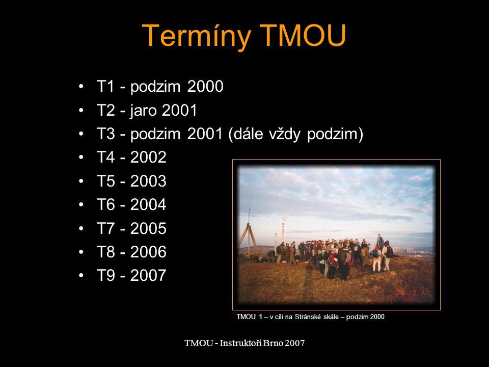 TMOU - Instruktoři Brno 2007 Termíny TMOU T1 - podzim 2000 T2 - jaro 2001 T3 - podzim 2001 (dále vždy podzim) T4 - 2002 T5 - 2003 T6 - 2004 T7 - 2005