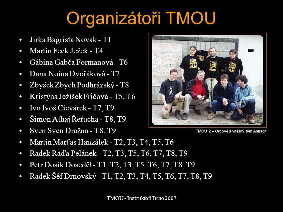 TMOU - Instruktoři Brno 2007 Počty účastníků T1 - cca 50 týmů - 200 účastníků T2 - 132 týmů - 530 účastníků T3 - stanoven limit 200 - téměř naplněn - cca 800 účastníků T4 - 200 týmů - cca 900 účastníků T5 - první kvalifikace - chybou kvalifikace účast 300 týmů - cca 1300 účastníků T6 - 200 týmů T7 - 200 tým T8 - 210 týmů TMOU 3 – start hry na Planýrce