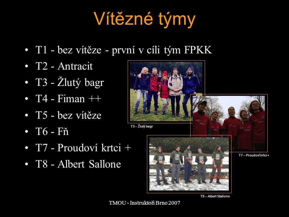 TMOU - Instruktoři Brno 2007 Vítězné týmy T1 - bez vítěze - první v cíli tým FPKK T2 - Antracit T3 - Žlutý bagr T4 - Fiman ++ T5 - bez vítěze T6 - Fň T7 - Proudoví krtci + T8 - Albert Sallone T3 – Žlutý bagr T7 – Proudoví krtci + T8 – Albert Stallone